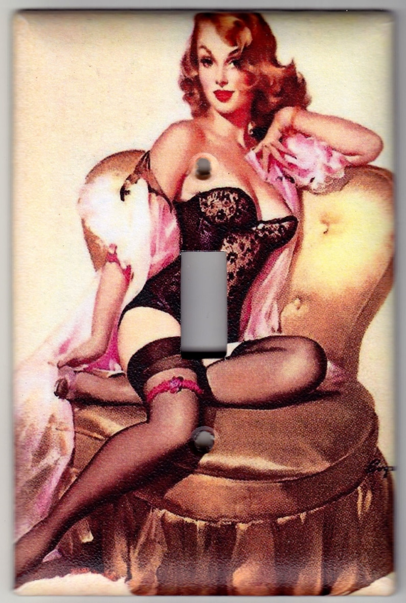 f1cde67f952 Vintage Pin Up Girl / Lingerie Switchplate Cover - Single Jumbo size (609)