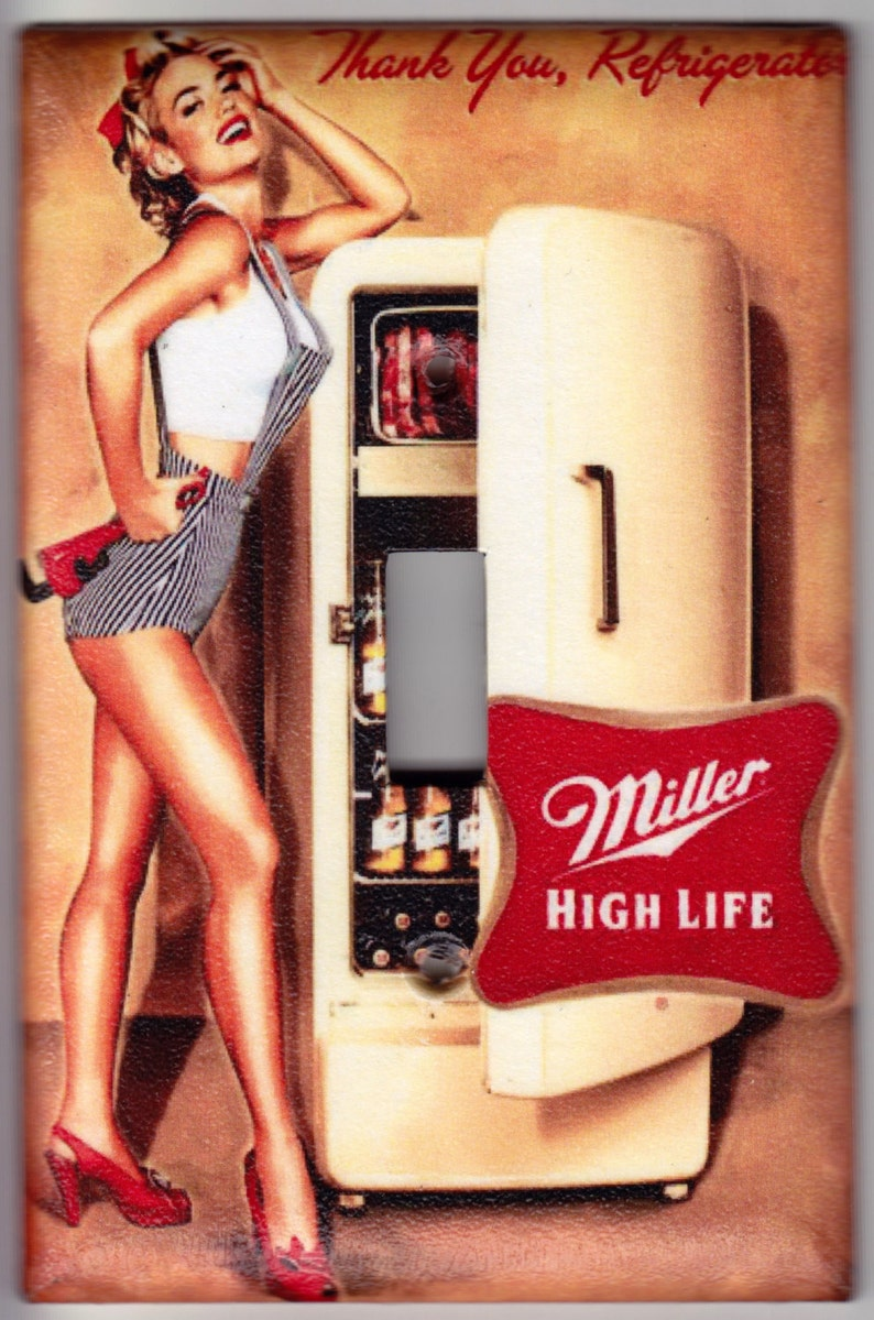 Miller High Life Beer / Vintage Pin Up Girl Poster Switchplate Cover -  Single Jumbo size (445)
