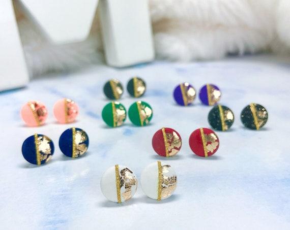 Handmade Polymer Clay with Gold Flakes Twist Hoops Dangle Earrings Golden Hoop Earrings