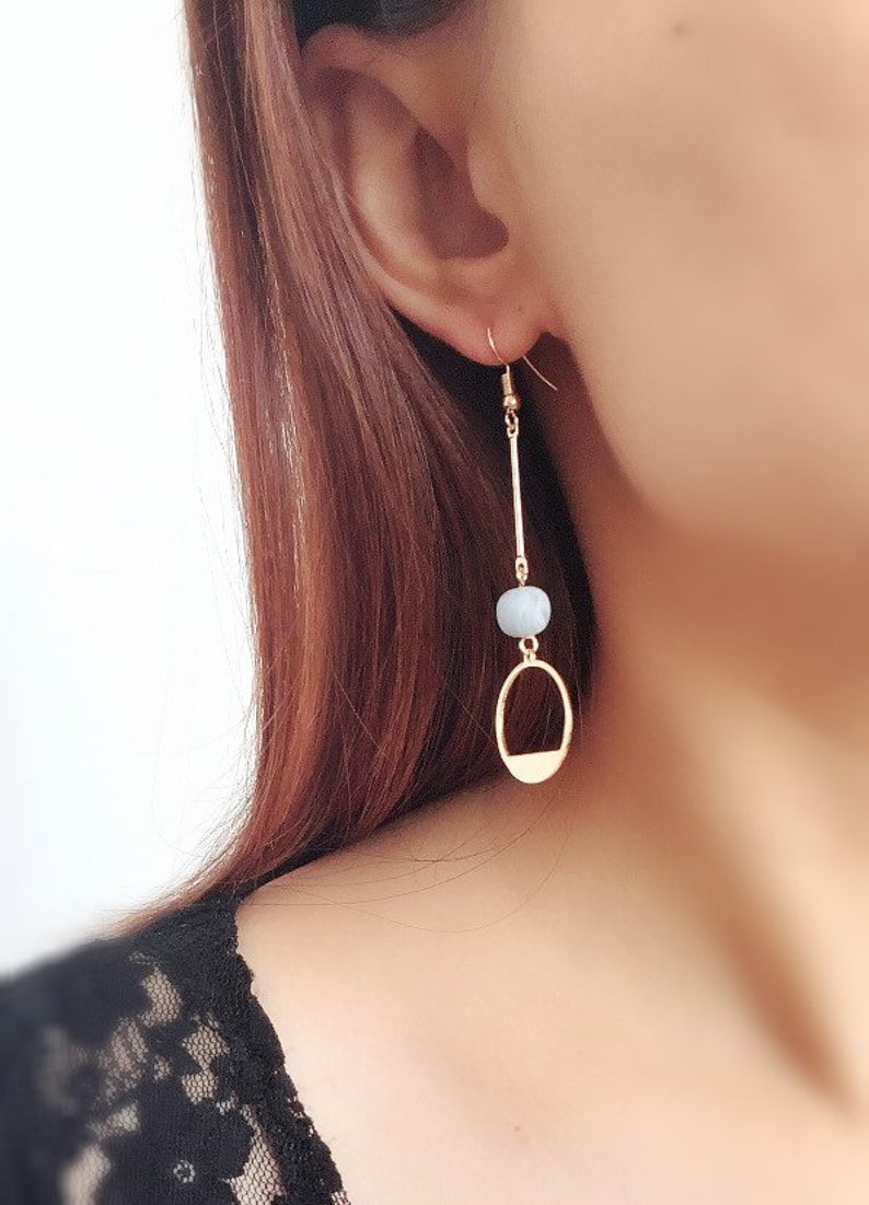 Handmade Circle Polymer Clay Surgial Steel Drop Earrings Hoop with Dangle Beads  Earrings
