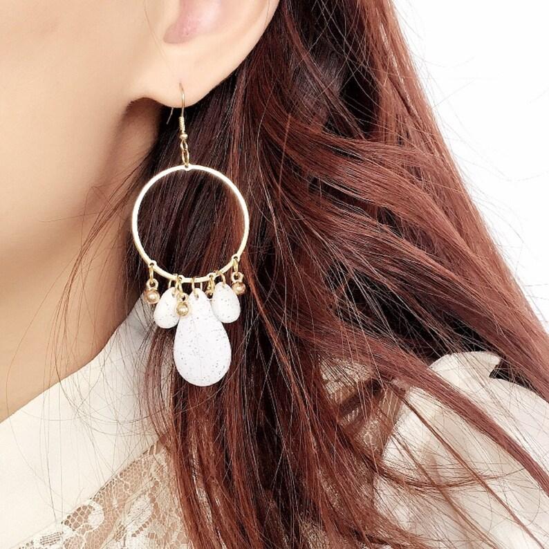 Handmade Polymer Clay Stone Golden Earrings  Hypoallergenic Surgical Steel Dangle Earrings Boho Earrings