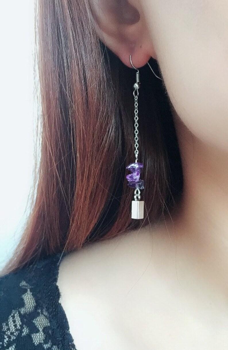 Rock Crystal Dangle Earrings Obsidian Citrine Amethyst Rose Quartz Green Quartz Strawberry Quartz Quartz Drop Earrings Handmade
