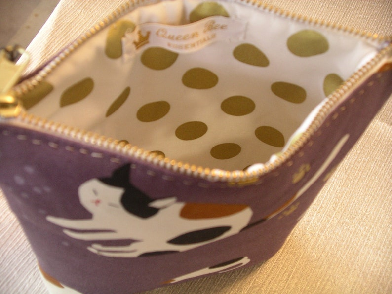 Asian Cats on Purple Make-Up Bag