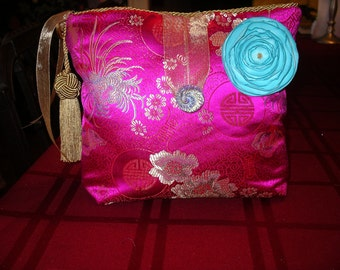 Glamorous Pink and Gold Chinese Brocade Lingerie Bag
