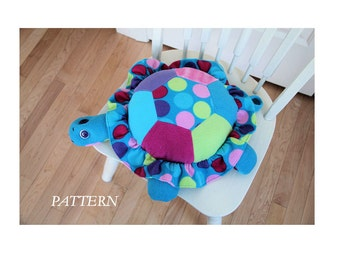 PATTERN PDF for Pieced Top Turtle Pillow, woven or fleece fabrics