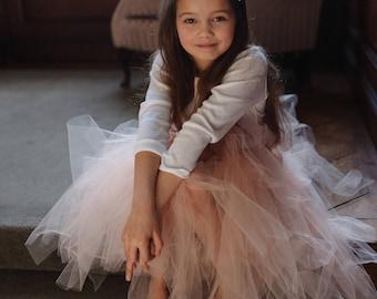 e049239ffc6 Ankle Length White Ivory Peach Custom Colour Tulle Skirt