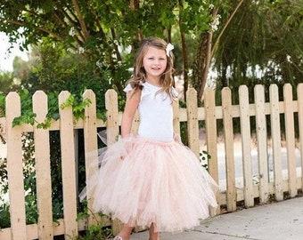 Calf Length Grey, Nude, Peach Flower Girl Tutu Tulle Skirts, Bridesmaid Dress, Ballet Tutus, Girls Skirt, Fairy Tutus, Flower Girl  Dress UK