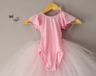 175cb0d9199 Pink Flutter Frill Short Sleeve Girls Leotard