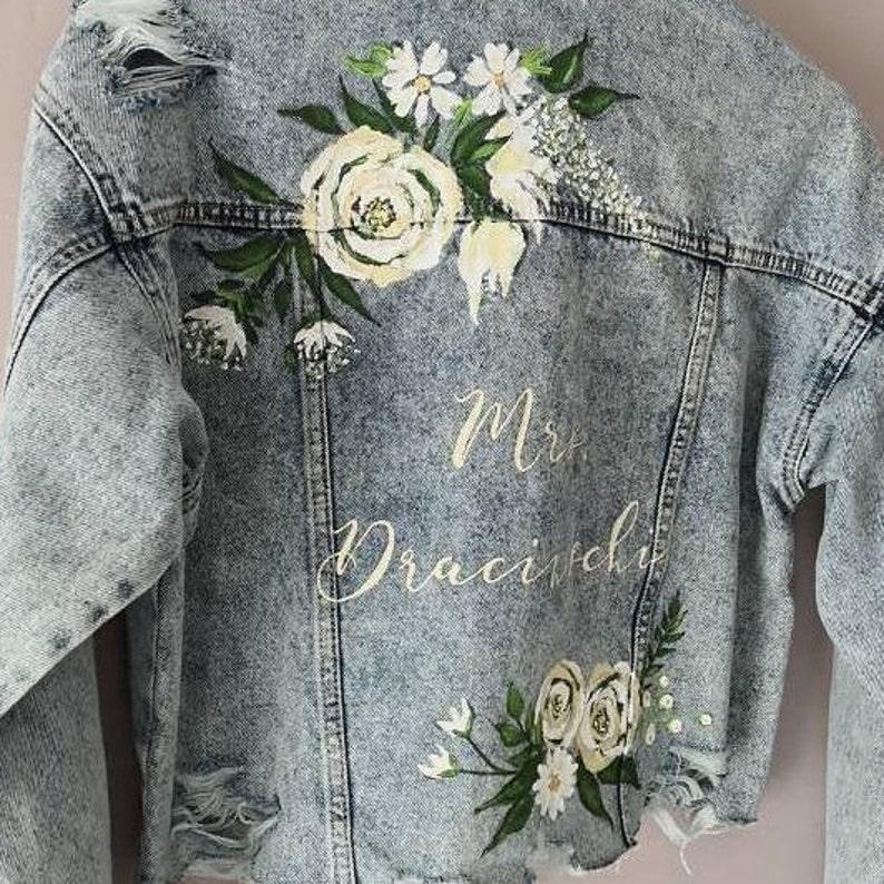 Bridal Bespoke Denim Leather Jacket Calligraphy UK Hand Painted Custom Ivory Floral Design Wedding Jacket Mrs Painted Denim Bridal Jacket
