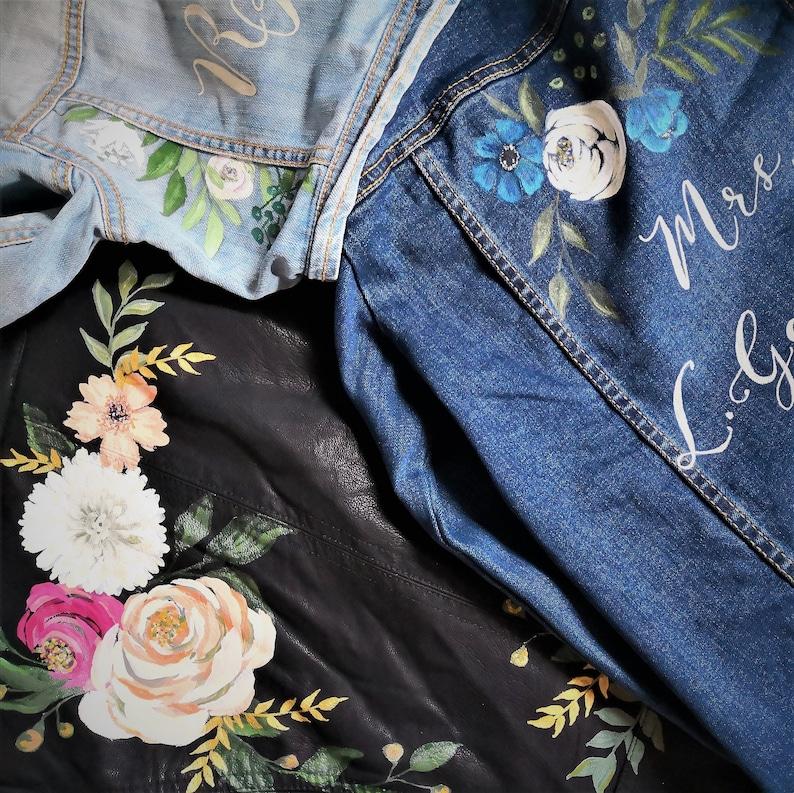 Bridal Bespoke Denim Leather Jacket Calligraphy Hand Painted Pink Rose Wedding  Jacket Painted Denim Bridal Jacket UK Monogram