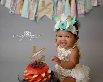 Baby Girls Gold 1st Birthday Outfit And Ivory Glitter Crown Headband Bubble Romper Set Cake Smash