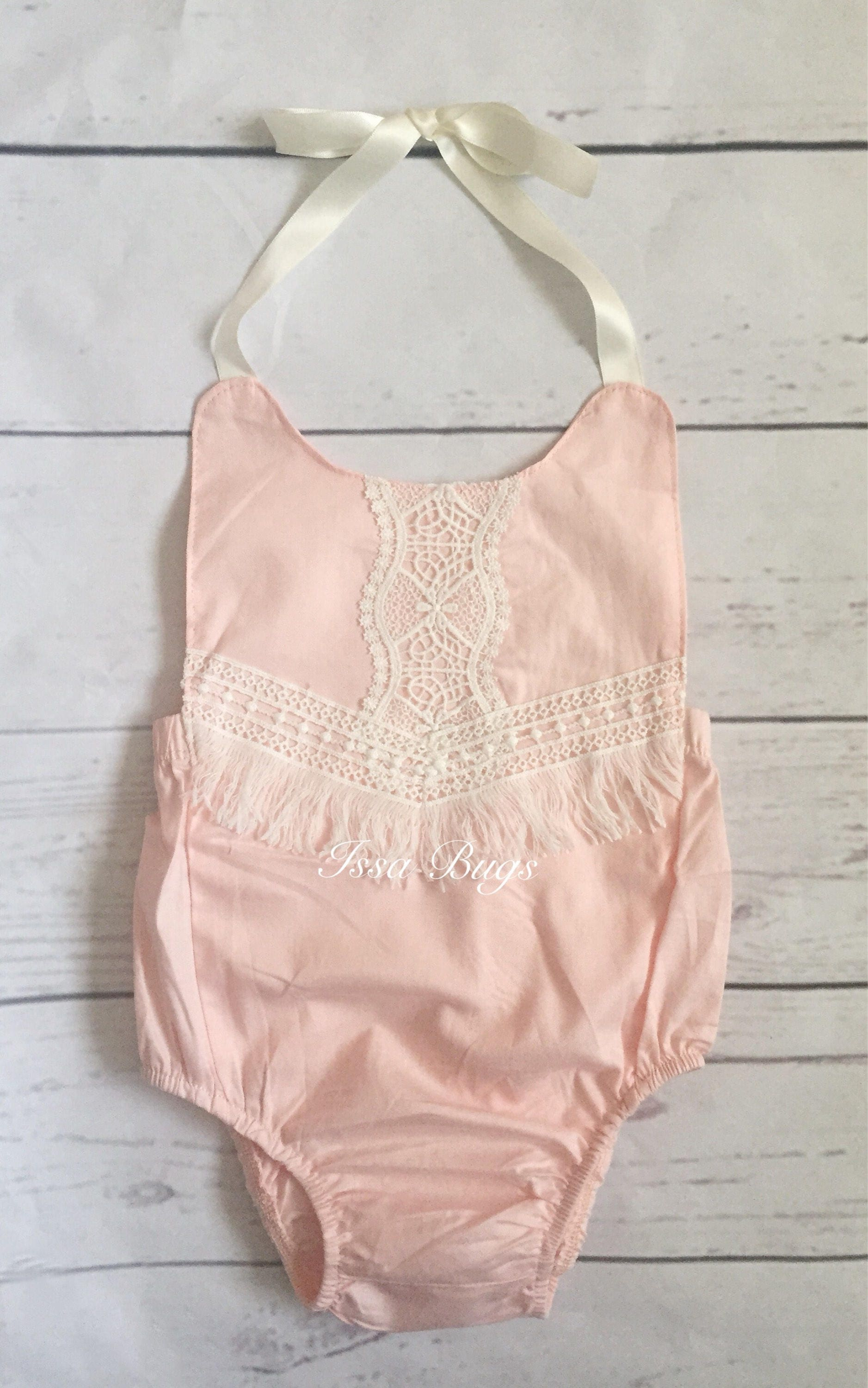 bd43fb0355a Baby girl outfit-baby girl clothes-baby romper-pink bubble romper-newborn  girl photo outfit-vintage pink romper-fringe boho baby romper