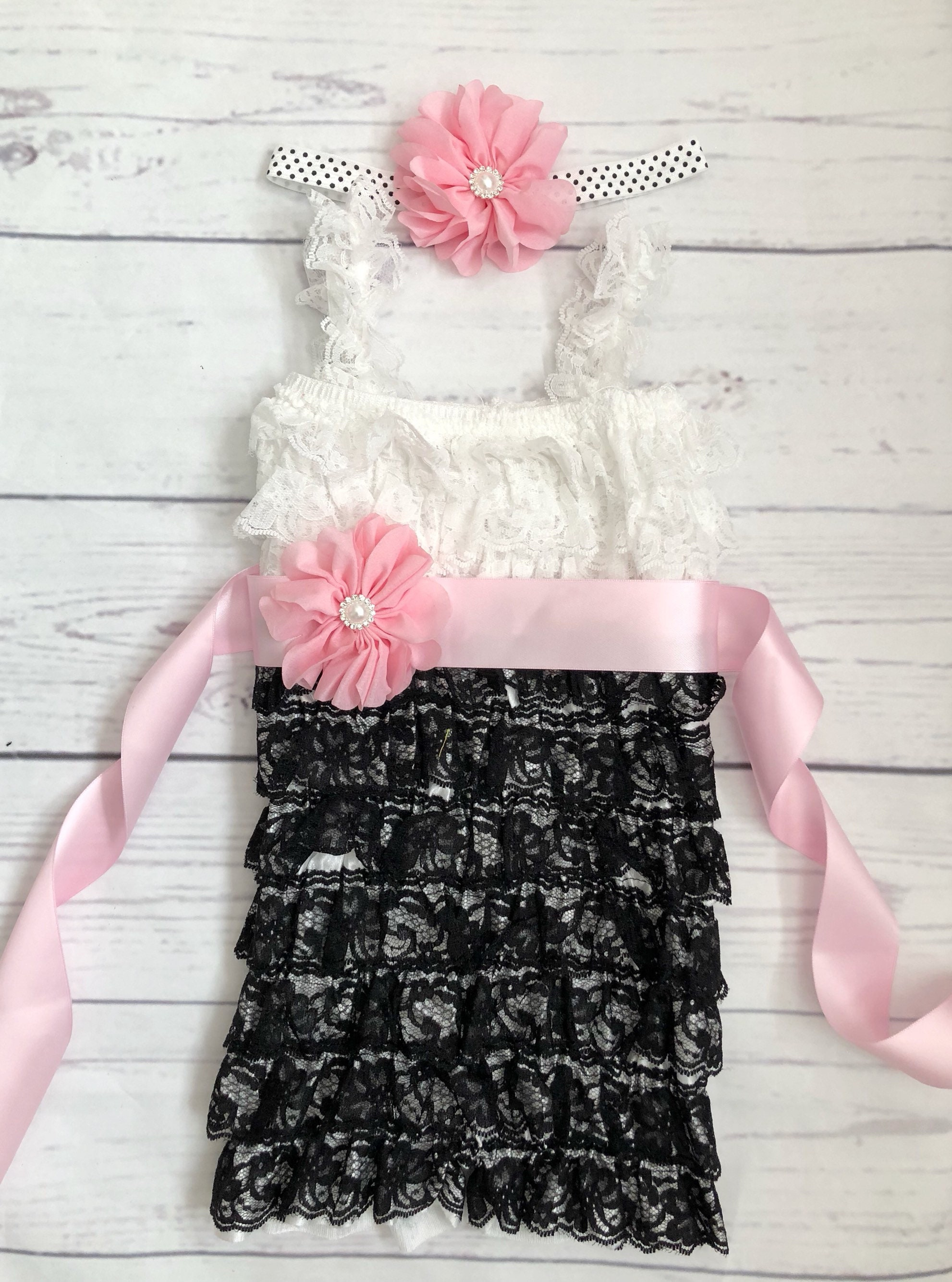 1e38aa1db Baby girl clothes-baby girl lace romper-minnie mouse 1st birthday outfit- black lace romper-cake smash outfit-pink black baby outfit