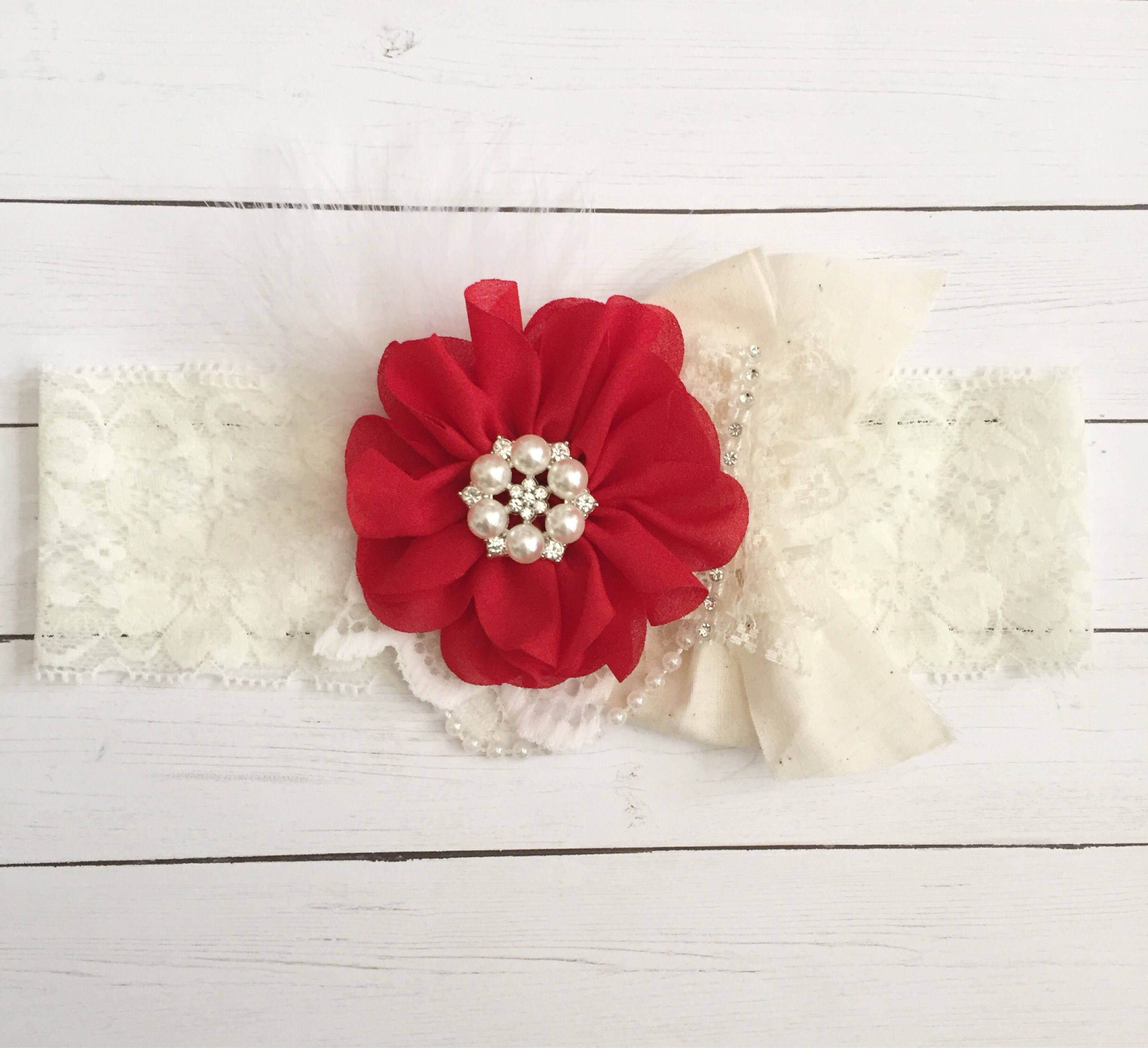 Baby girls Christmas headband-newborn headband-baby lace headband-girl lace  headband-baby lace headband-girls headband-couture lace headband 29827db8050