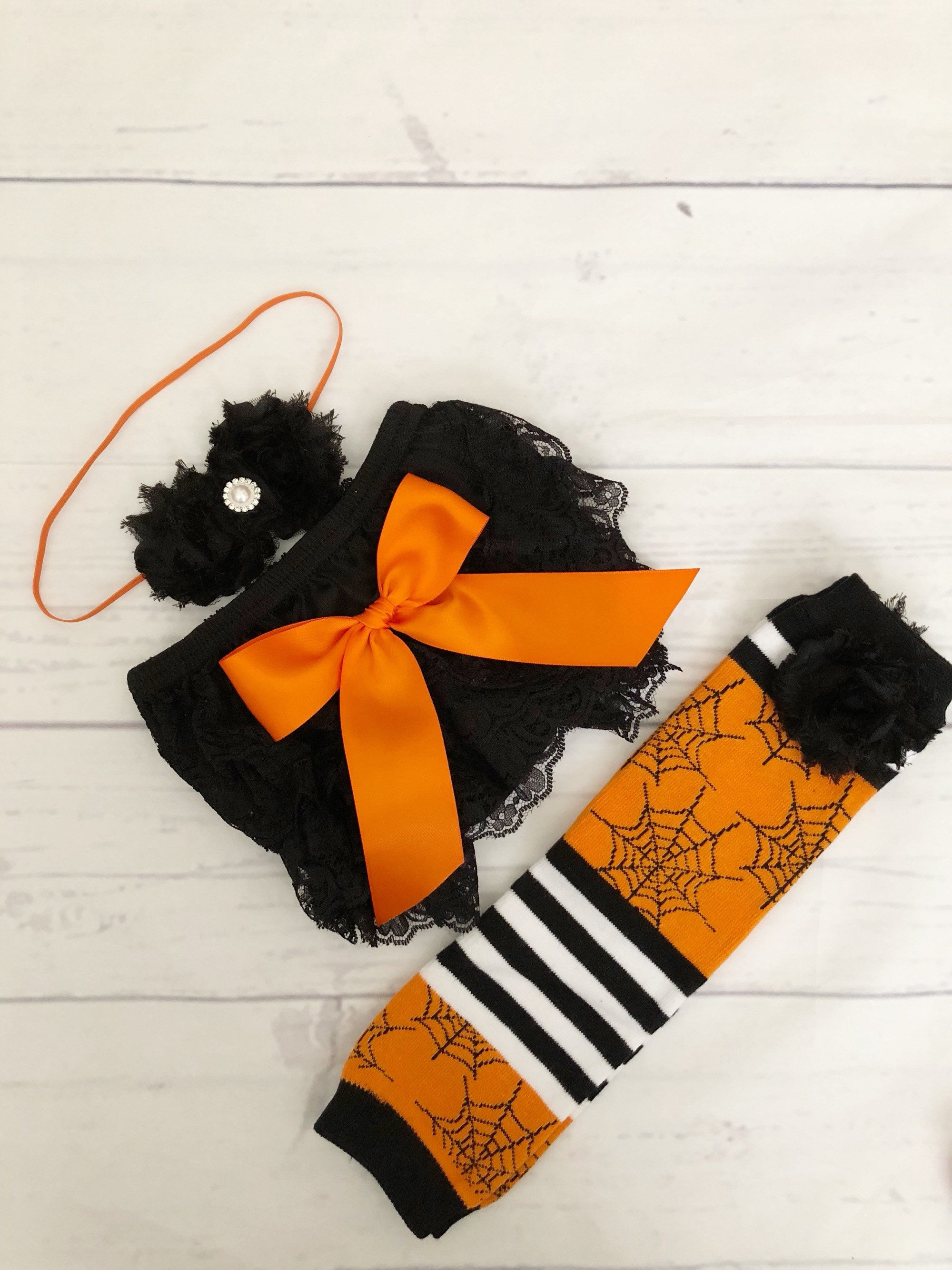 baby girl clothes baby girl halloween outfit pumpkin patch outfit bloomer headband leg warmer set halloween headband halloween leg warmers