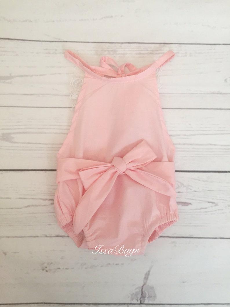 2d879cb9d Pink baby romper-baby romper-baby bubble romper-sunsuit-ruffle
