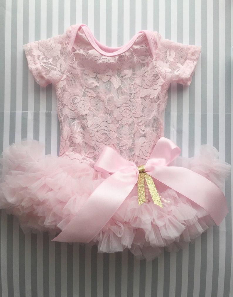 Girls Tutu Baby Dress 1st Birthday Pink
