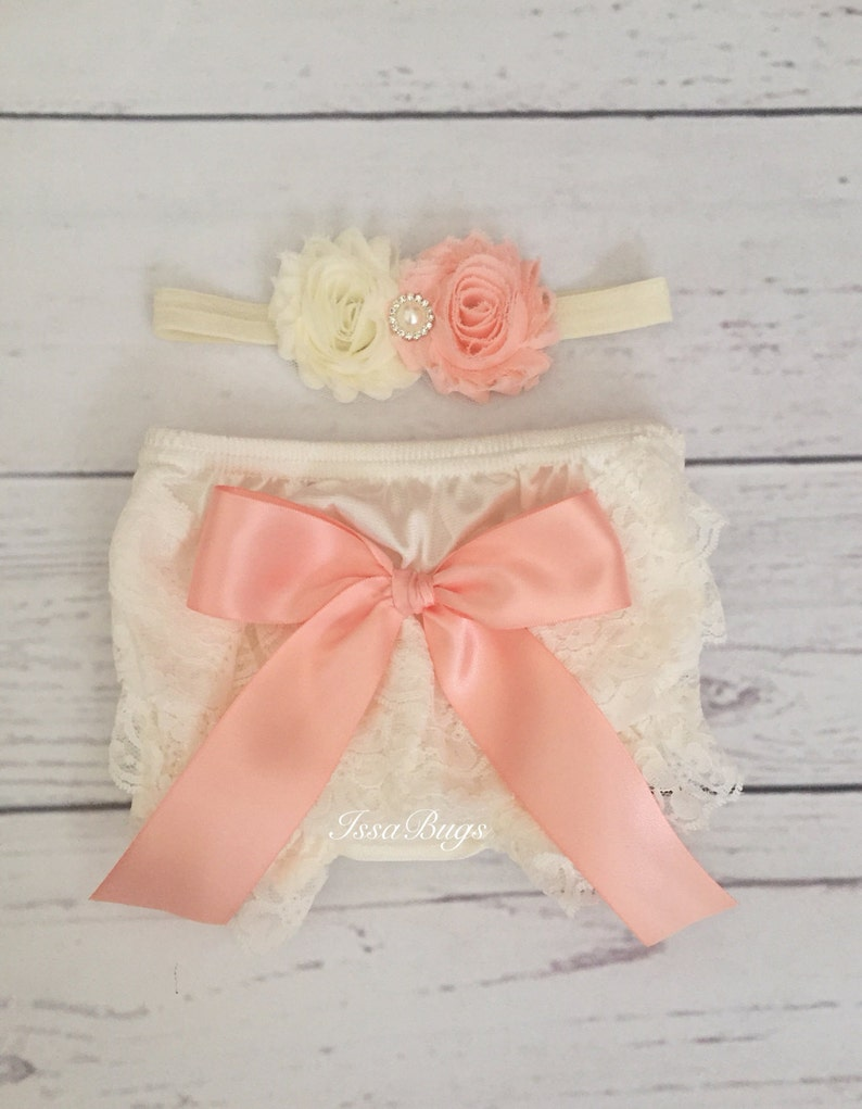 9f0f359e441 Baby Girls Lace Bloomer Diaper Cover set-Ivory and peach Lace