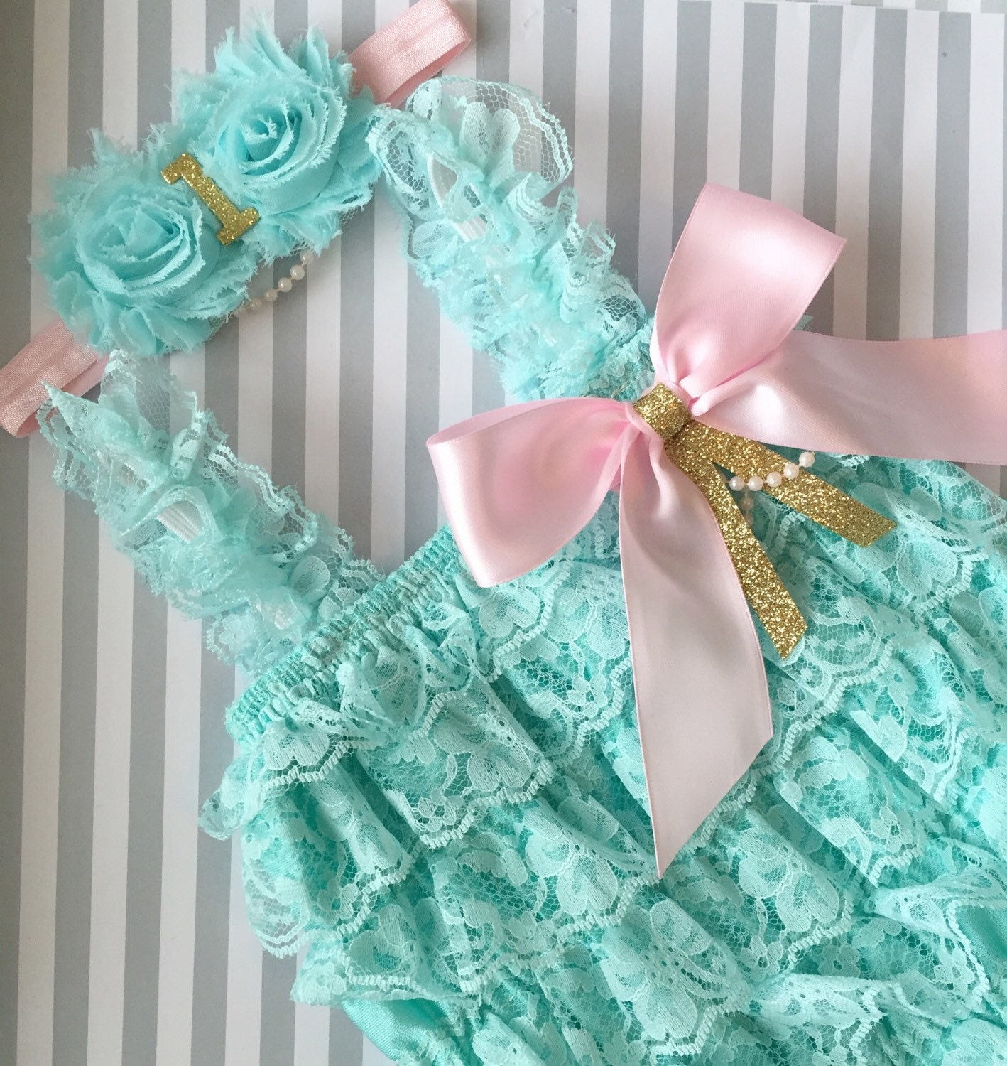 b438957fb443 Baby Girls Lace romper-aqua lace romper set-Pink aqua and gold 1st birthday  baby outfit-aqua and gold 1st birthday outfit-cake smash outfit