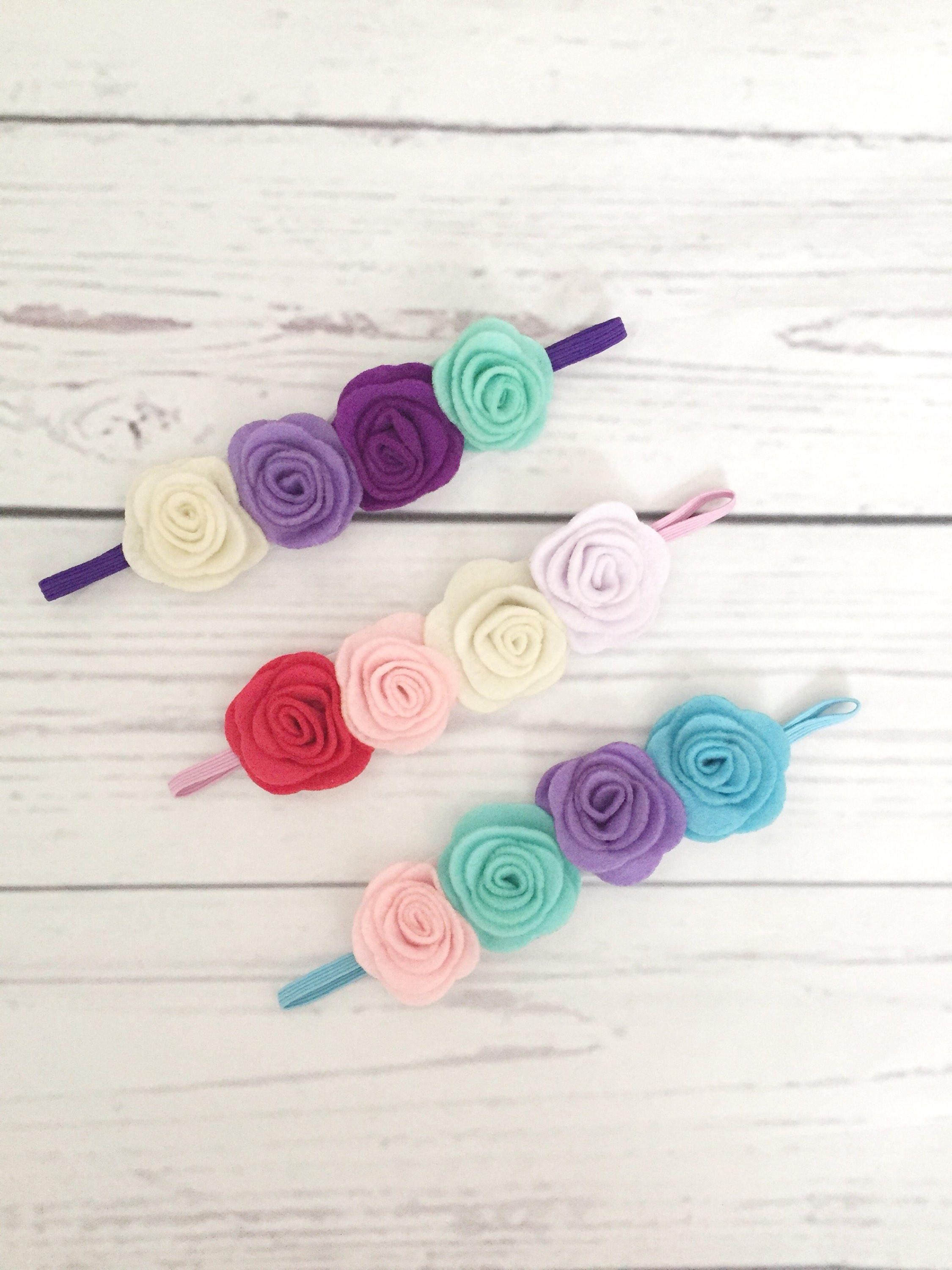 Felt Flower Headbands Rainbow Baby Newborn Headbands Baby Headbands