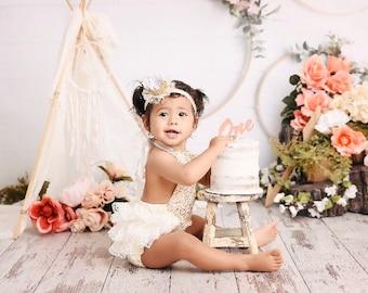 Baby girls boho romper-1st birthday outfit-gold and ivory boho birthday-glitter crown headband-gold glitter bubble romper-cake smash outfit