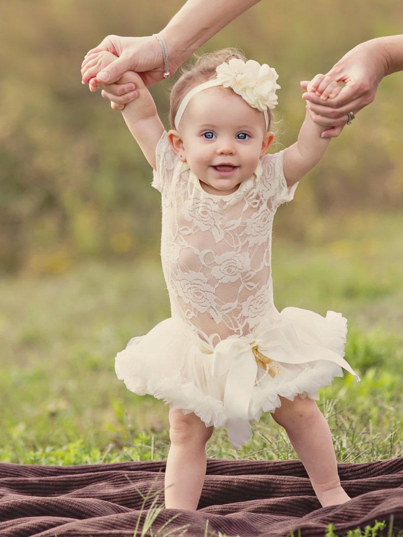 Baby Girl Tutu Ivory Dress 1st Birthday
