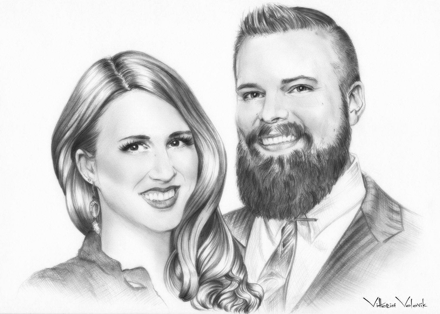 Custom family portrait pencil drawing from your photo skech realistic portraits by commission art family portrait free digital format