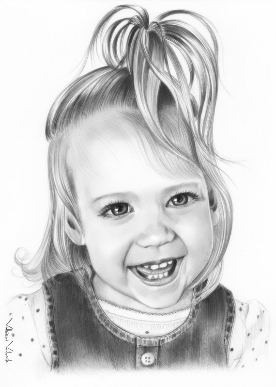 Custom Baby portrait Pencil Drawing from your photo Sketch ...