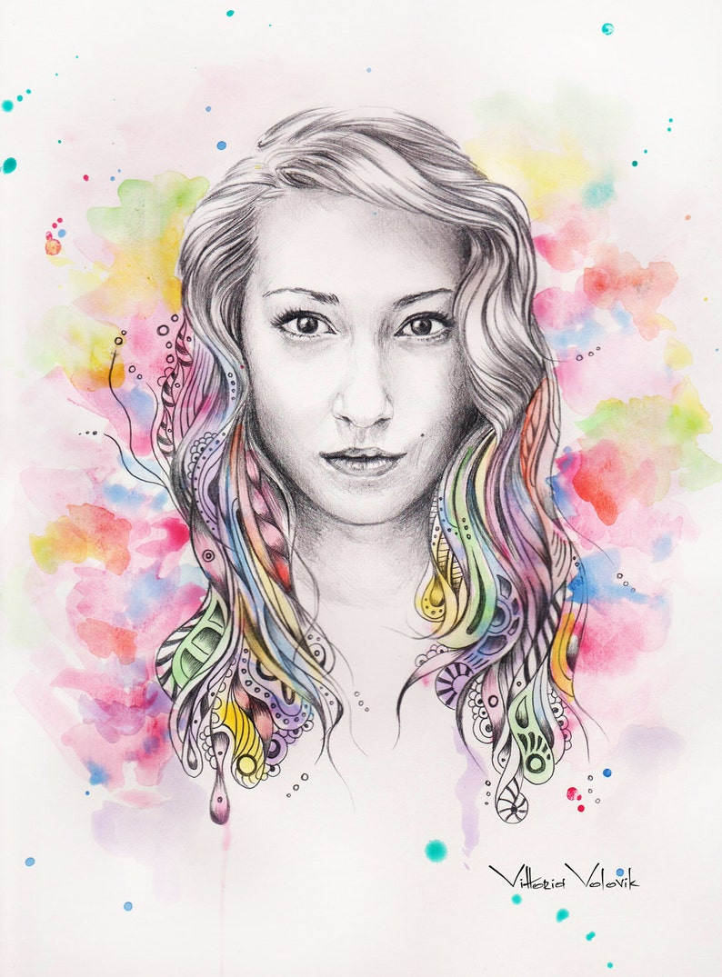 Original custom portrait mixed technique watercolors pencil portrait from your photo drawing free digital format