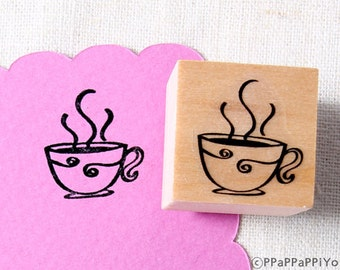 40% OFF SALE coffee Rubber Stamp (20mm)