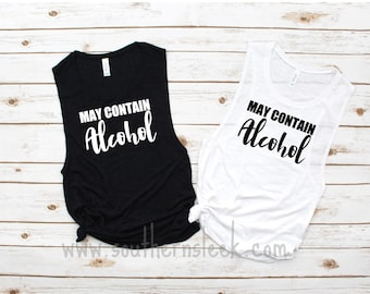 May Contain Wine Tank Top Women Funny Graphic Drinking Shirt Summer Sleeveless Tee Tops