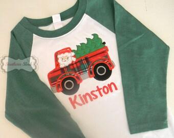 Christmas Truck & Tree Embroidered Baseball Raglan Shirt