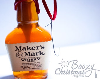 Makers Mark Ornament-- Maker's Mark Kentucky Bourbon Themed Christmas Tree Ornament.