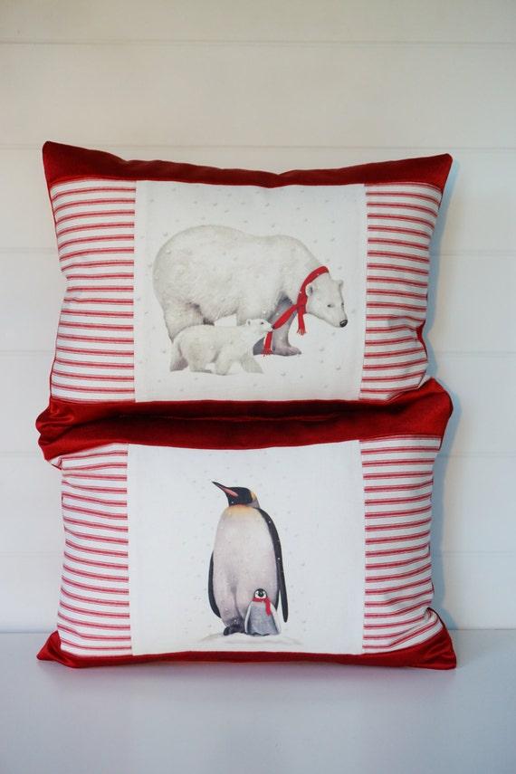 Navidad Oso Polar almohada almohada de pingüino vacaciones | Etsy
