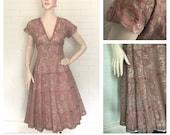 Vintage 1940s 50s Mauve Lace Dress M L