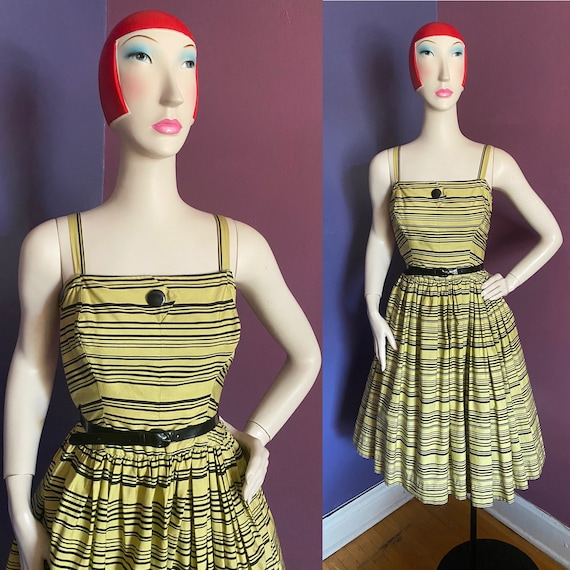 Vintage 1950s Horrockses Chartreuse Striped Dress