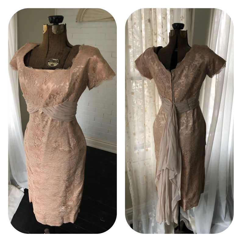 Vintage 1950s Lace Wiggle Dress with Drape VOLUP XL