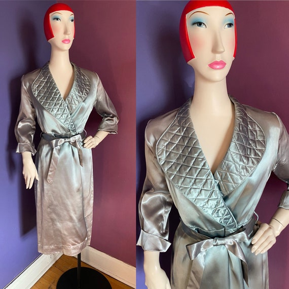 1940s Satin Robe Dressing Gown S M