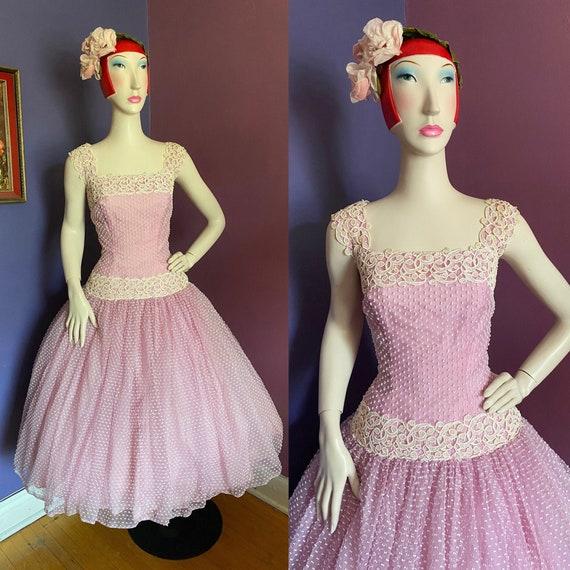 Vintage 1950s Lilac Party Dress M