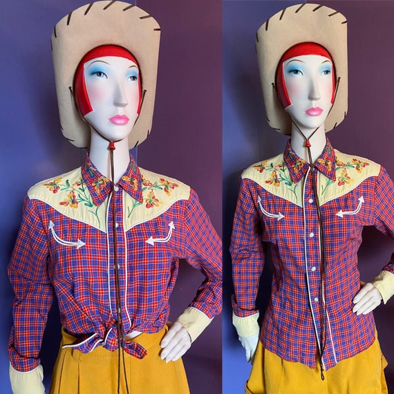 Vintage 1940s Embroidered Western Shirt M L