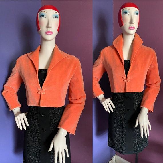 Vintage 1950s Coral Velvet Cropped Jacket Bolero M