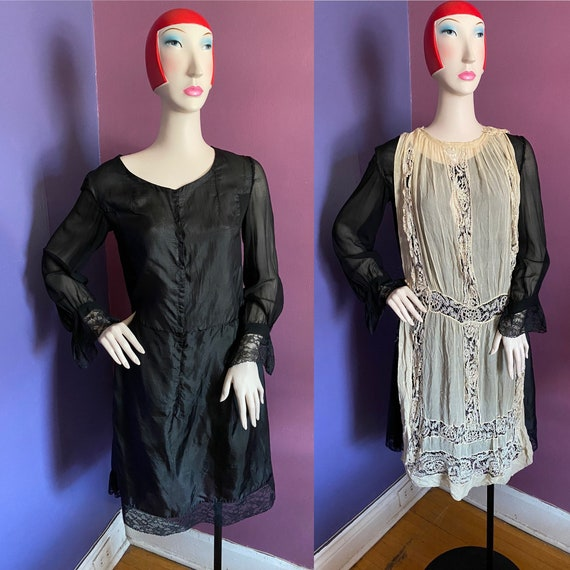 Vintage 1920s Slip/ Under dress with Sleeves S/M