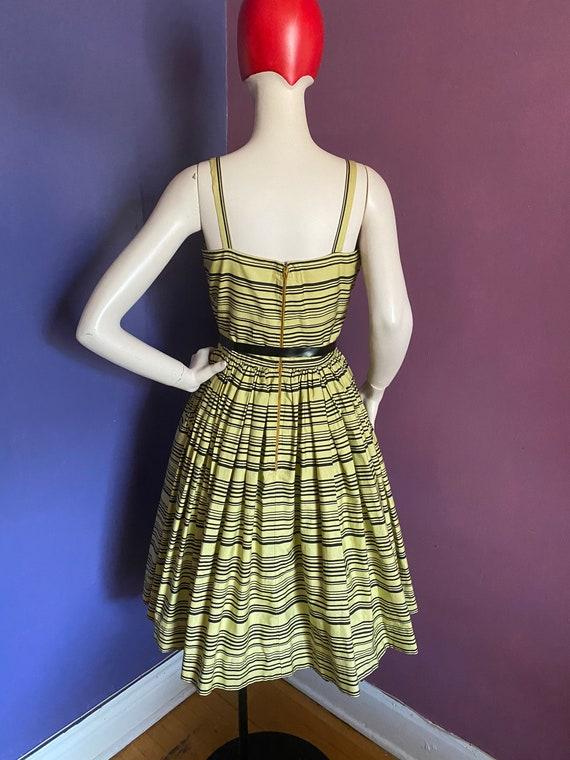 Vintage 1950s Horrockses Chartreuse Striped Dress… - image 4