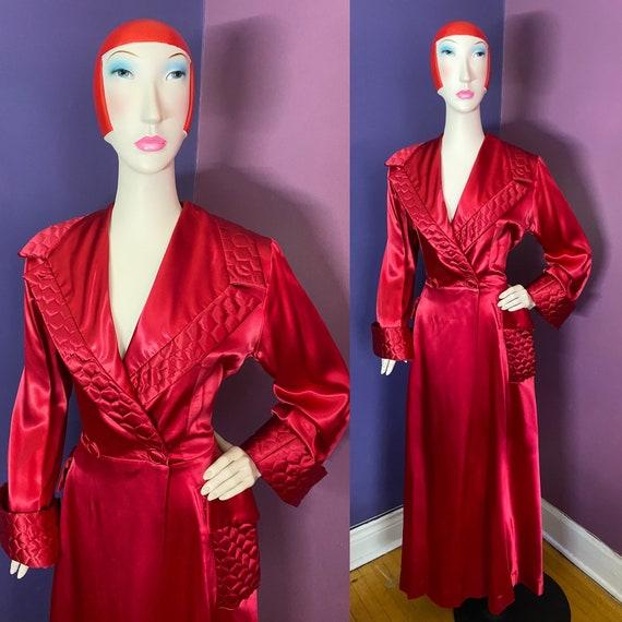 Vintage 1940s Liquid Satin Robe Dressing Gown M