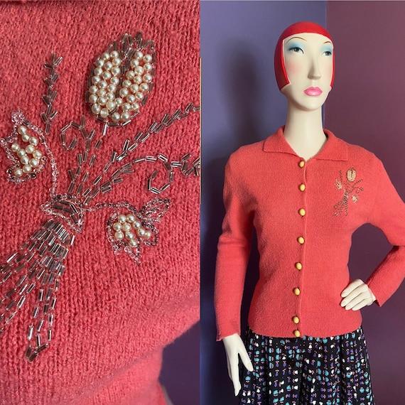 Vintage 1940s Coral Beaded Cardigan S M