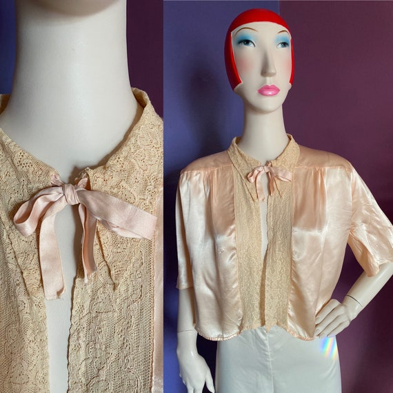 1930s Silk Satin Bed Jacket XS S