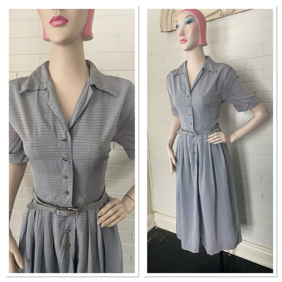 Vintage 1950s Striped Acetate Day Dress by Mode O