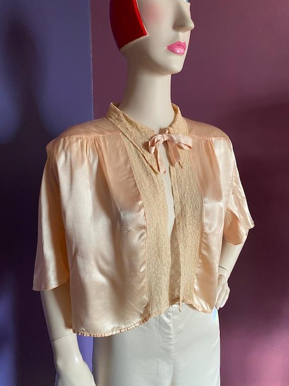 1930s Silk Satin Bed Jacket XS S - image 4