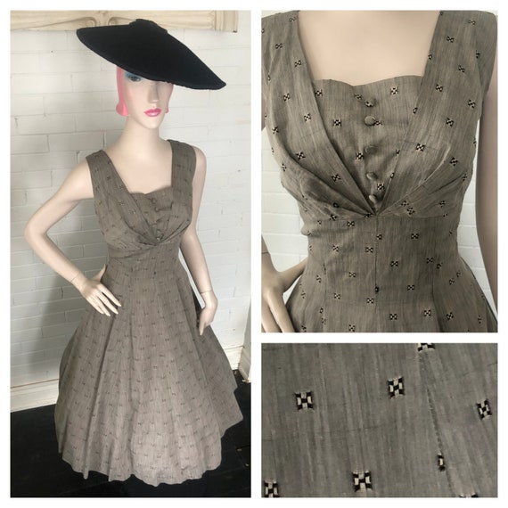 Vintage 1950's Silk New Look Party Dress Volup L X