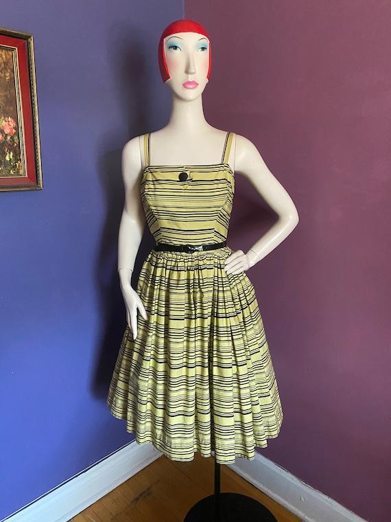 Vintage 1950s Horrockses Chartreuse Striped Dress… - image 3